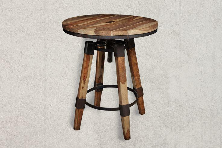 Bar Table WAVERLY Industrial Sheesham Wood Bar Table dimensions in cm (H/W/D) 76x70x70cm