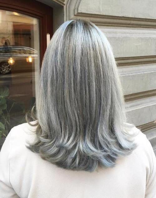 Mittlere Graue Frisur Für Glattes Haar