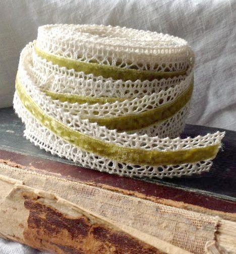 velvet crochet ivory and sweet pea green ribbon diy