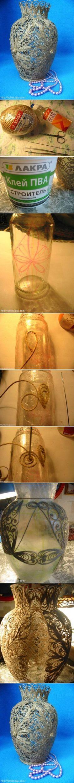 DIY Delicate Twine Cord Vase | www.FabArtDIY.com