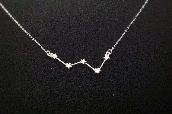 Collar de la constelación de Cassiopeia plata por OnceUponASine