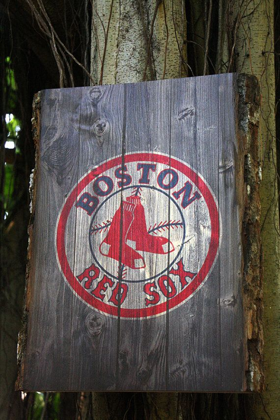Decorative Wooden Plaque with Boston Red Sox Logo by WOODSNACKS