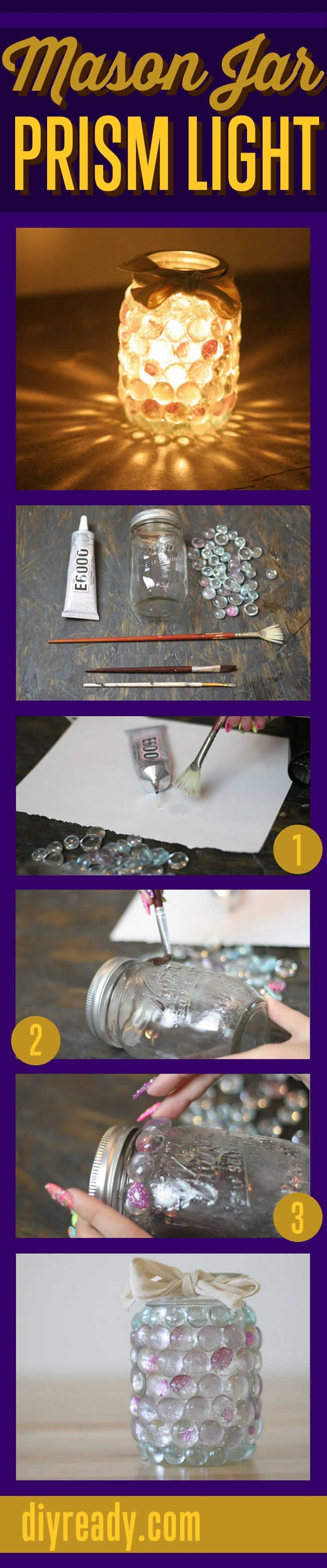 Mason Jar Crafts - This Mason Jar DIY Prism Light is made from dollar store glass stones diyready.com #crafts #diy #masonjar