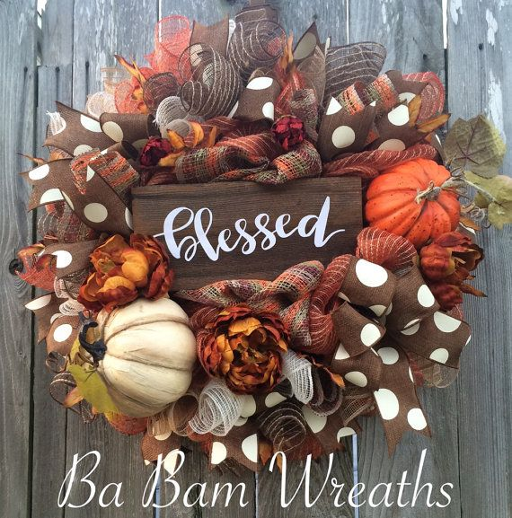 Fall Wreath, Autumn Wreath, Rustic Fall Wreath, Thanksgiving Wreath, Burlap…