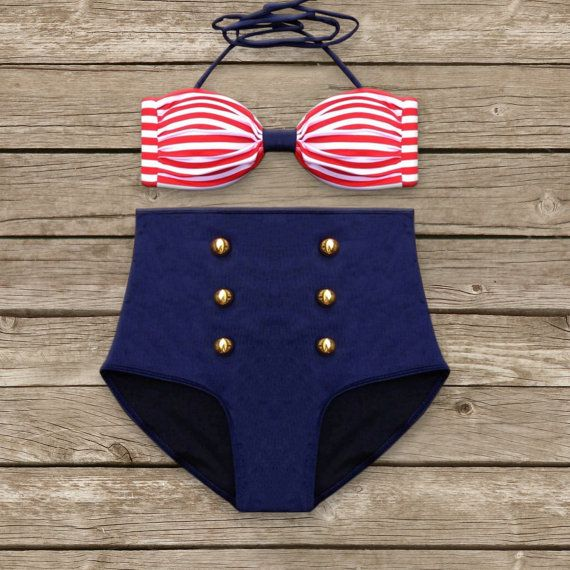 Bandeau Bikini - Vintage Style High Waisted Pin-up Swimwear - Amazing Striped Sailor Style - Unique & So Cute!