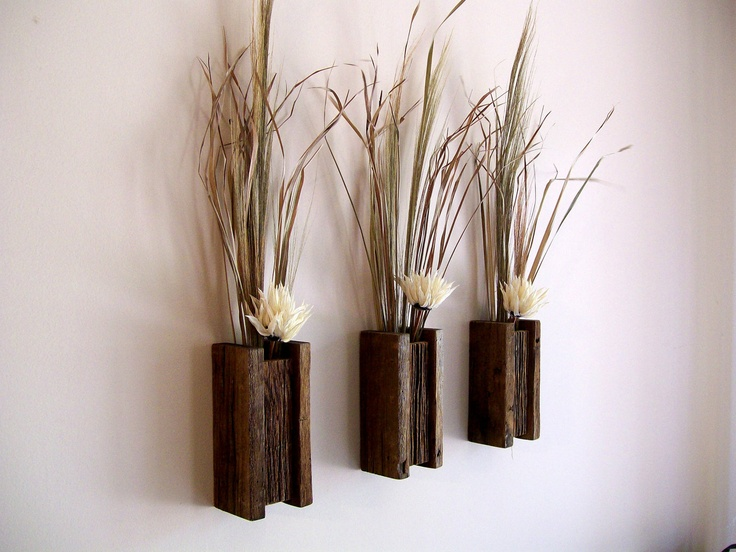 Wall Sconces With Vases : Set of 3 Rustic / Reclaimed / Barn Wood Wall Vase / Flower Sconce Vase, Barn wood walls and Flower