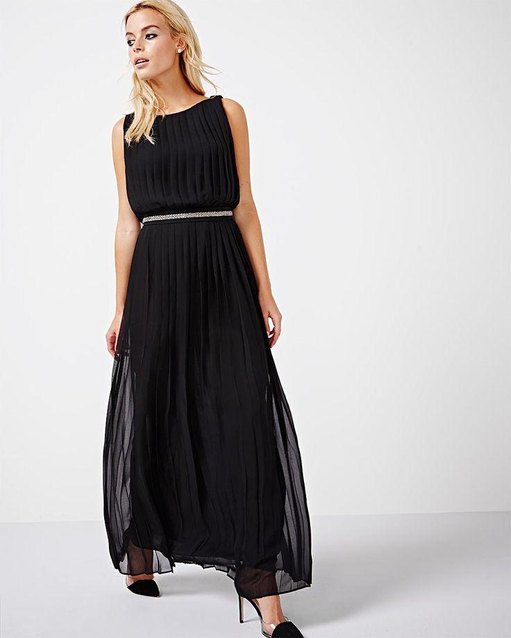 """Optez pour cette jolie robe maxi pour votre prochaine soirée cocktail. Son ourlet long, ainsi que son dos ouvert, en font un choix classique qui va surement impressionner. <br /><br />- Disponible exclusivement en ligne<br />- Longueur du vêtement : 58""""<br />- Sans manches<br />- Ceinture amovible<br />- Tissu en mousseline plissée<br />- Dos ouvert avec deux boutons <br />- Notre mannequin porte la ..."""