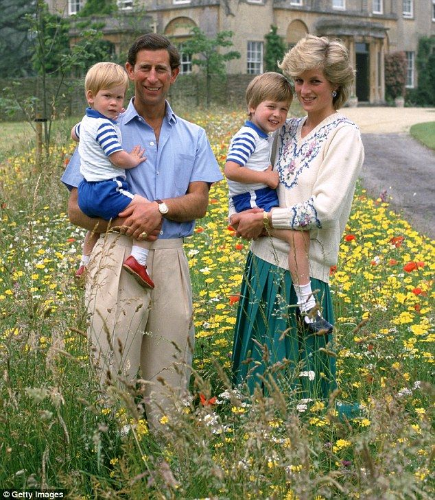 Prince Charles holding Prince Harry and Diana, Princess of Wales, holding Prince William in the wild flower meadow at Highgrove on 14 July 1986 in Tetbury, England.