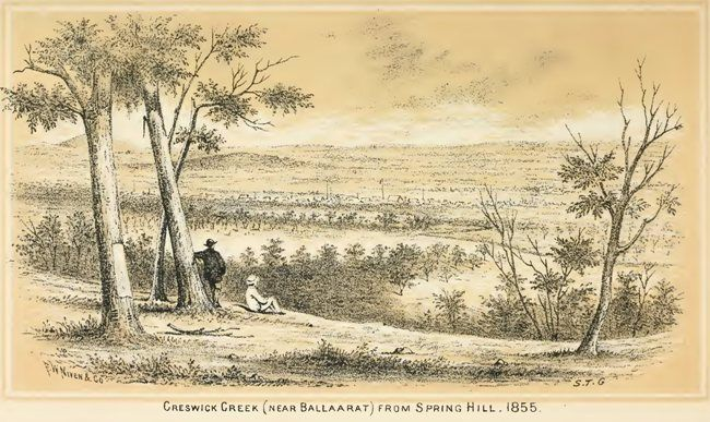 Creswick Creek (near Ballarat) from Spring Hill, 1855