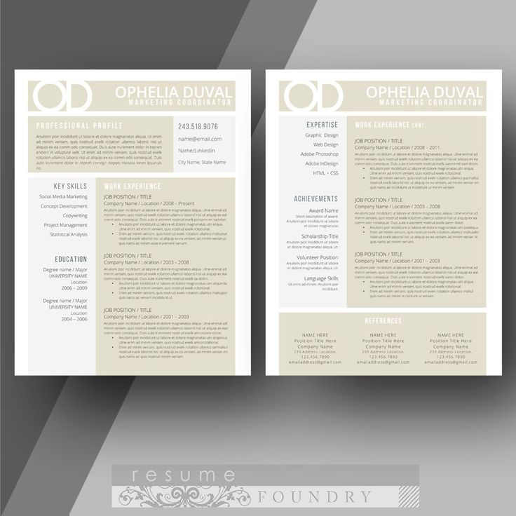 36 best two page resume template cv template images on pinterest