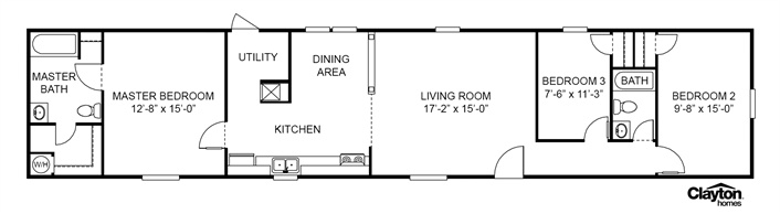 clayton homes. 15x80foot single wide floor plan. | floor plan