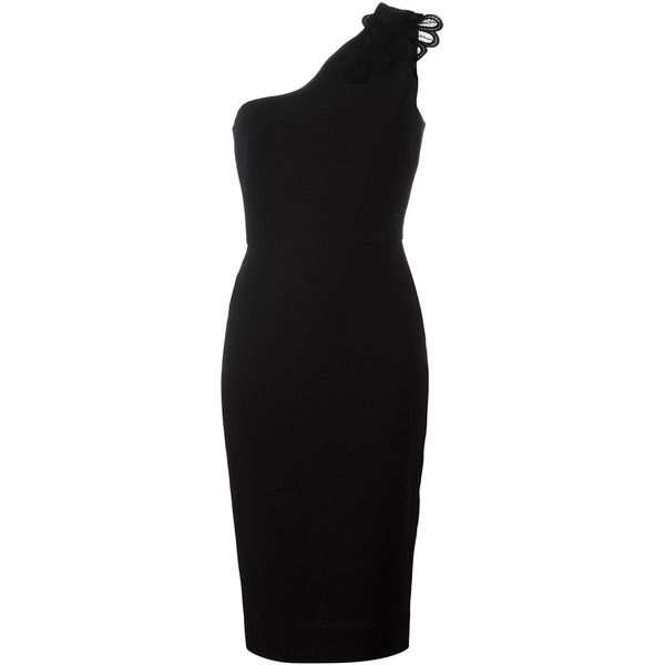 Victoria Beckham One Shoulder Dress ($1,826) ❤ liked on Polyvore featuring dresses, black, single shoulder dress, one sleeve cocktail dress, off one shoulder dress, wool dresses and one shoulder dresses