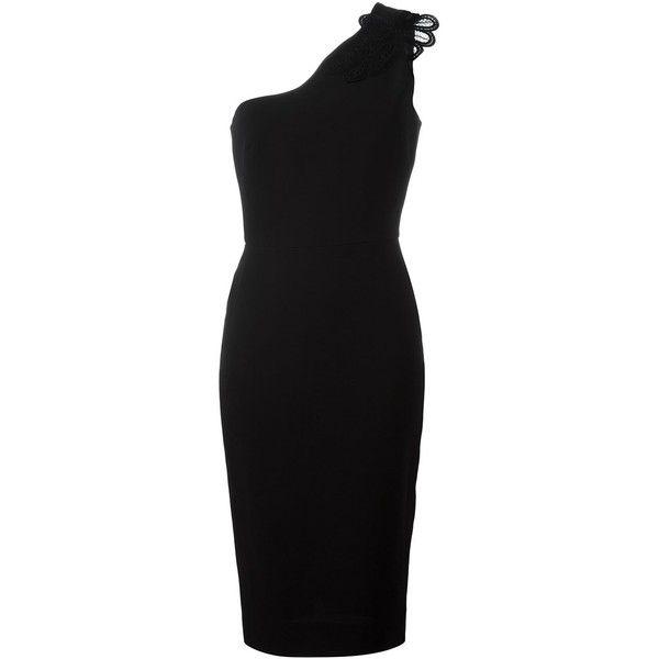 Victoria Beckham One Shoulder Dress ($1,826) ❤ liked on Polyvore featuring dresses, black, single shoulder dress, one sleeve cocktail dress, off one shoulder dress, wool dresses and one shoulder dresses