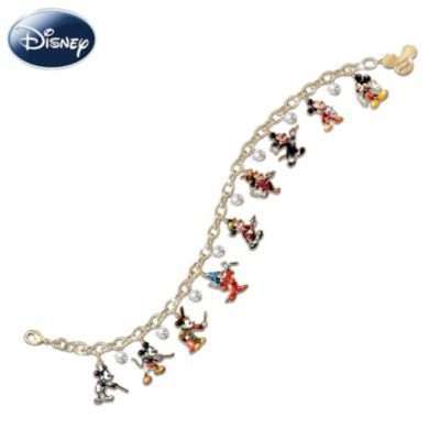24K gold-plated with 10 colorful, engraved Mickey Mouse charms. Sparkles with Swarovski® crystal briolettes. Edition Limited to 5,000.