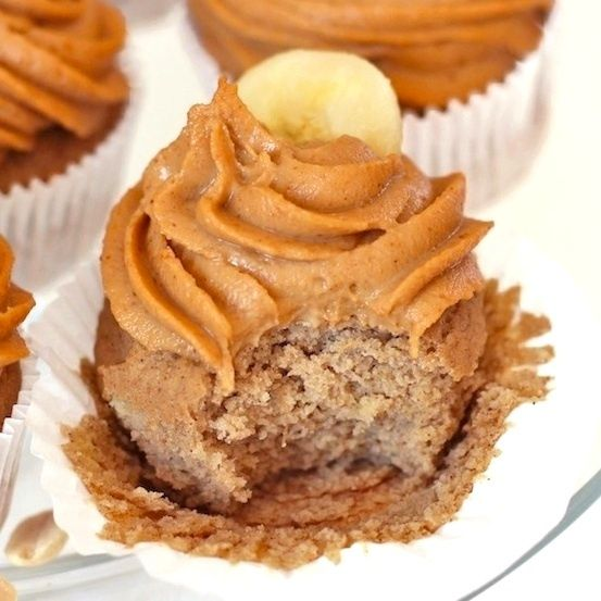 Healthy Banana Quinoa Cupcakes with Peanut Butter Frosting (low fat, high protein, GF, V) #food