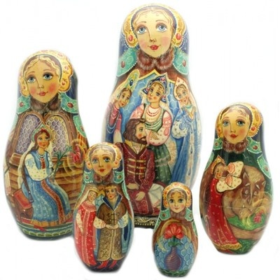 BEAUTY AND THE BEAST Unique Russian Hand Carved Hand Painted Nesting DOLL Set