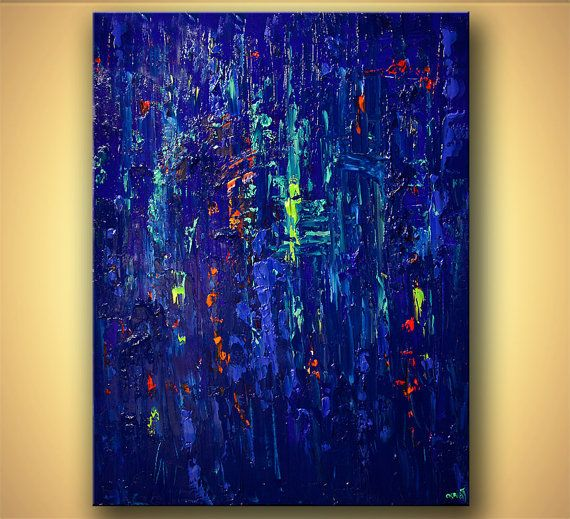 """Modern Art Poster on Photographic Paper - Blue - 48""""x36"""" - Art by Osnat"""