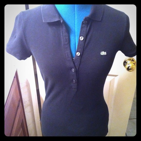 ⚡️SALE⚡️LACOSTE polo shirt black Size small, worn maybe 2 times only Lacoste Tops