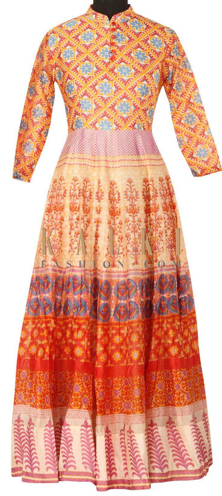 Cream printed dress in floral motif only on Kalki