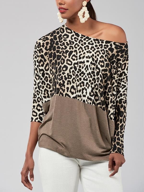 Women Leopard Print One Shoulder Blouse Tops Ladies Long Sleeve Casual T Shirts
