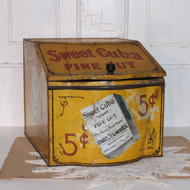 SWEET CUBA Tobacco Store Display Counter Tin Box....1910 Advertisement