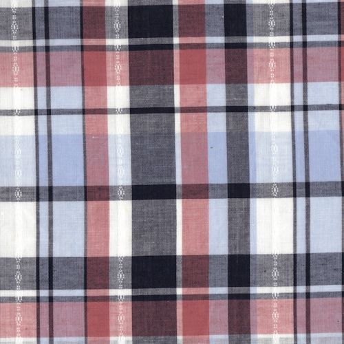 Distinctive Sewing Supplies - Plaid Poplin with Dobby Stripe - White, Red