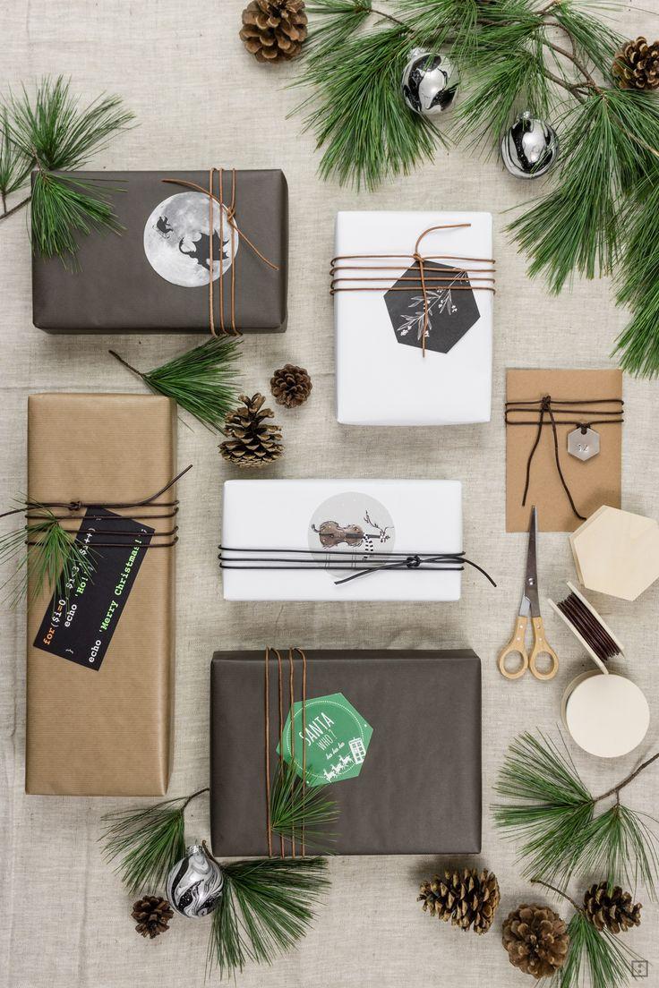 Upcycling Weihnachtskarten als Gifttags Geschenke einpacken mit Leder minimalistisch