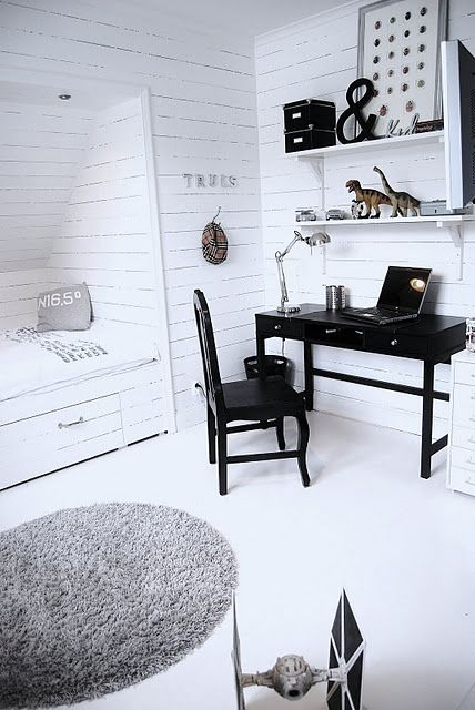Boys bedroom - black and white
