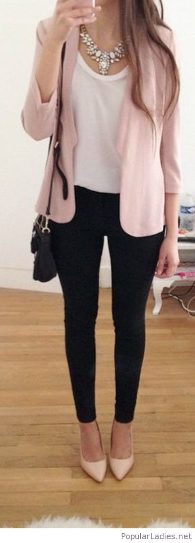 Black pants, white top and nude blazer (Fall Top Black Pants)