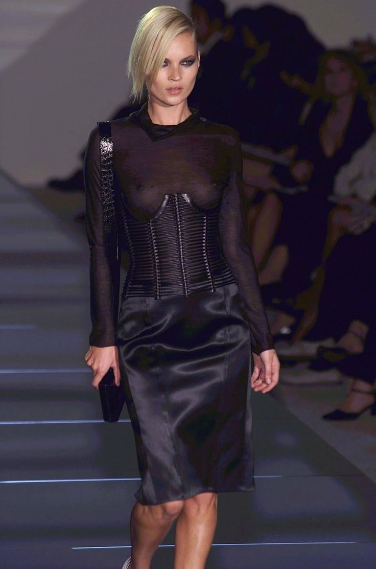That Iconic Tom Ford Gucci SS01 Runway Ad Campaign Leather Cage Corset Kate Wore | From a collection of rare vintage shirts at https://www.1stdibs.com/fashion/clothing/shirts/