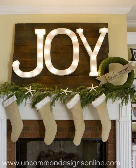 Joy Lit Marquee Letters: Christmas Mantel