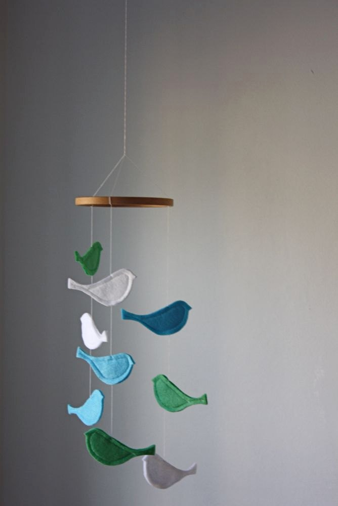 Bird baby crib mobile baby blue mint white birds for Bird mobiles for nursery