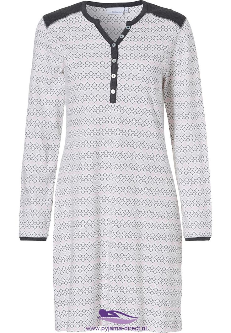 A stylish 'circles & diamonds' snow-white and pink long sleeved cotton Pastunette nightdress in a modern horizontal striped pattern