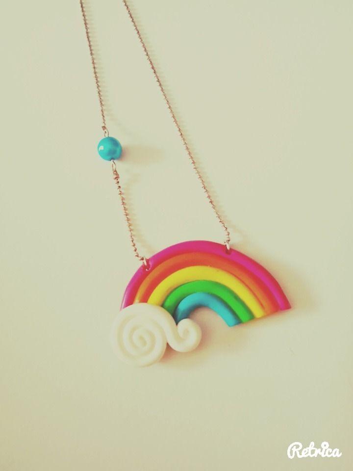 Collier arc-en-ciel multicolor, bijoux en fimo : Collier par les-bijoux-fimo-de-lapetitecreatrice