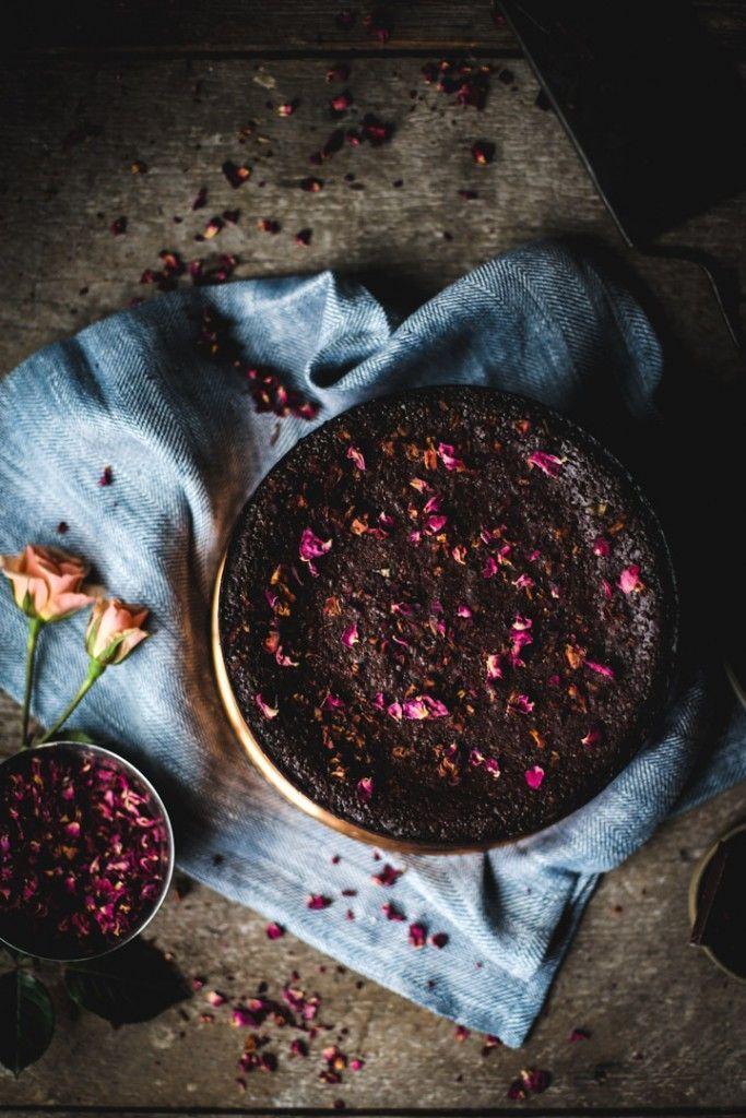 Flourless Chocolate Rose Cake | Recipe, styling & photography by Christiann Koepke of http://PortlandFreshPhoto.com