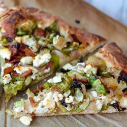 Brussels Sprouts, Bacon, and Goat Cheese Pizza. Don't knock it till ...