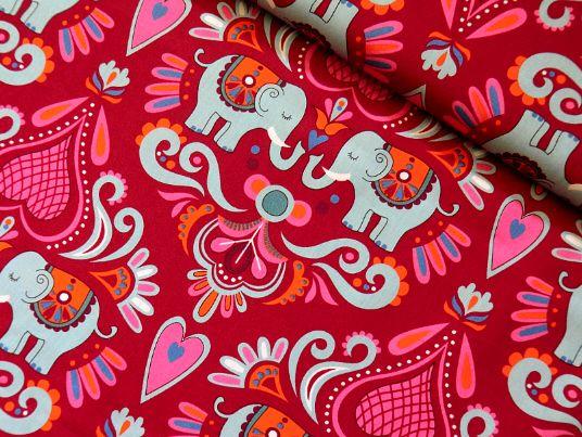 Baumwollstoff ELEPHANT LOVE rot Hamburger Liebe von Kirikari-Stoffe auf DaWanda.com