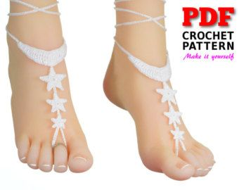 Barefoot sandals | crochet | pattern |  foot jewelry | to the MOON & BACK