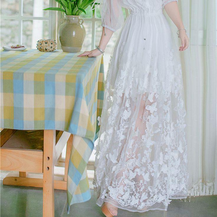 Sexemara/бабочка вышивка Летнее платье принцессы платье феи женские белые кружева сетки шифоновое платье с вырезом лодочкой Макси платьякупить в магазине SexeMaraFactory StoreнаAliExpress