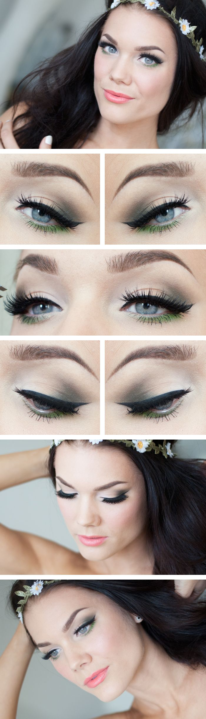 "Today's Look : "" Green Spring"" -Linda Hallberg ( a very soft, very beautiful look... very soft smokey eye, winged eyeliner with a fresh green on the lower lashline, a bit of sparkle completes the look without overpowering it at all. Love how she pairs this particular eye with a salmony peach/coral..) 05/20/13"
