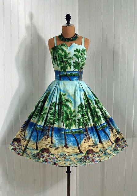 1950's Vintage Flair Miami-Couture Colorful Hawaiian-Tropical Scenic Beach Watercolor Novelty-Print Cotton Rockabilly Bombshell Circle-Skirt Party Sun Dress by jbaygirl0, via Flickr