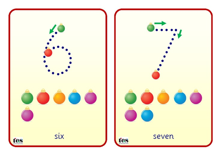 Simple flash cards that can be laminated and used with a dry wipe marker. Numbers from 0-10 are in Sassoon dotted font. A green bauble shows the starting point, a red bauble the finishing point. Also includes direction arrows and additional Christmas baubles to add a counting element