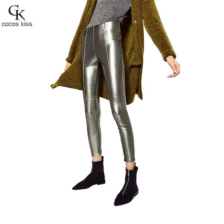 c248b26993 2016 Thicken Winter Pu Leather Pants Women High Waist Pencil Skinny Black  Leggings Female Pants Capris
