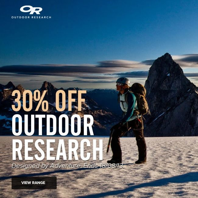 30% OFF All Outdoor Research until 18/08/13! http://www.mainpeak.com.au/brands/outdoor-research/ FINISHED!