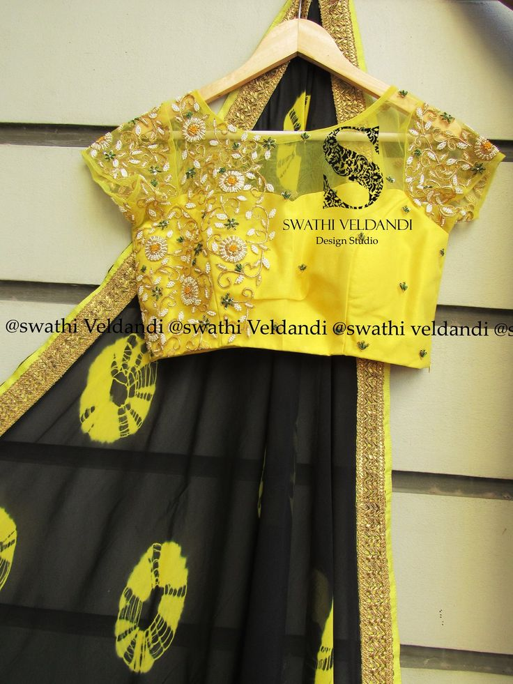 Superhit combination yellow + Black Yellow Net blouse filled with pearls Jardosi and zari paired with black Gorget sareeAvailableCall / watsapp : +918179668098. 21 January 2017
