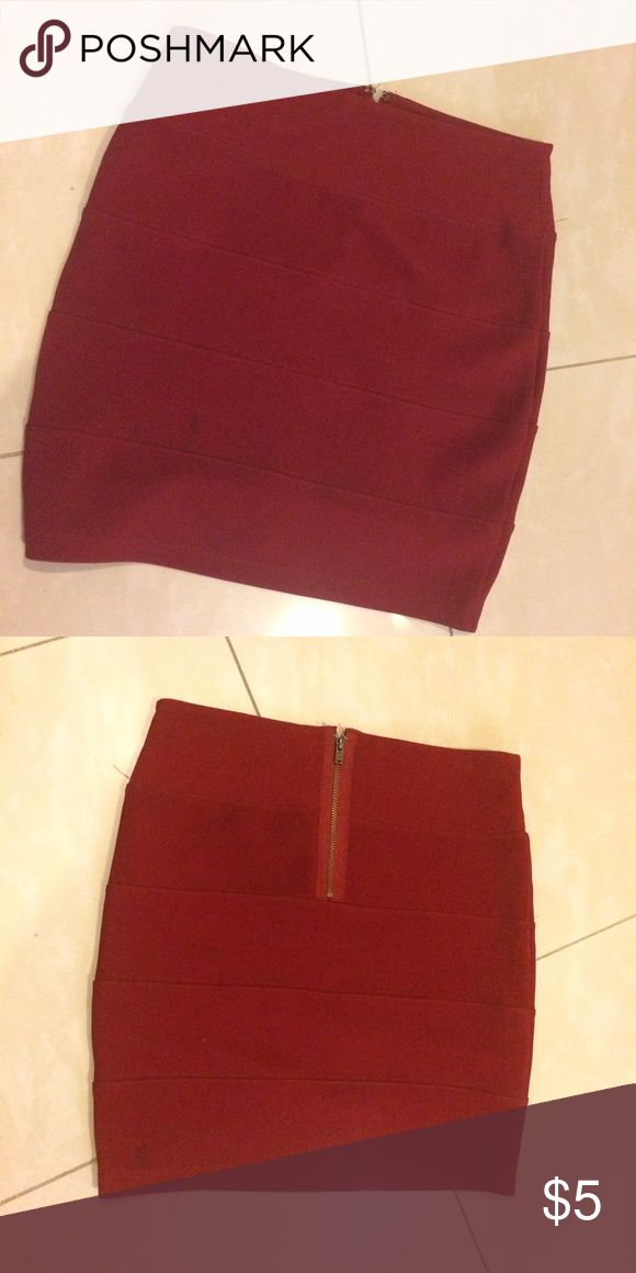 Forever 21 burgundy short pencil skirt Great strong material and tight fit skirt! Great for going out! Skirts Mini