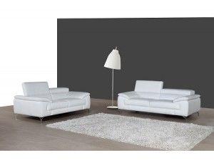 Prima White Italian Leather Modern Sofa