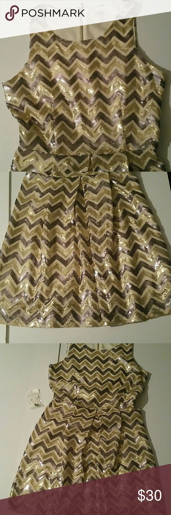 Beautiful sequin dress Beautiful gold, silver and gray sequin dress, zig zag pattern, zippered back enclosure, size S. Charming Charlie Dresses Mini
