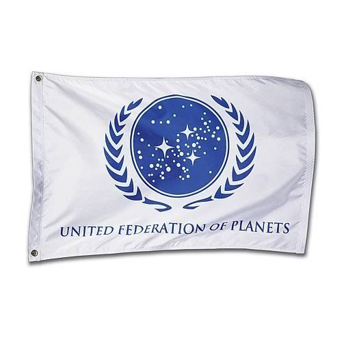 Star Trek United Federation Of Planets White Flag by Roddenberry. $49.99. Show your loyalty and dedication to the UFP! High-quality nylon flag right out of Star Trek. Detailed logo and the proper shade of blue. It's perfect for your shuttlecraft or officer's quarters!  Let your loyalty and dedication to the United Federation of Planets fly high with this beautiful blue-and-white flag. It's made from highly durable nylon with the text and logo dyed into the fabric, so it w...