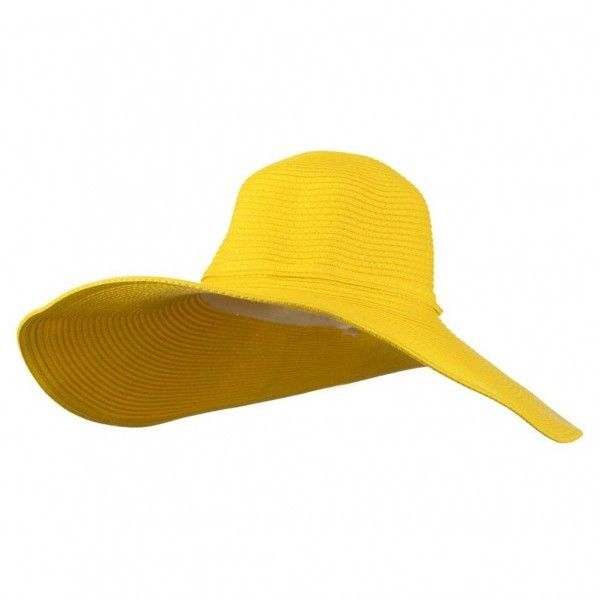 Yellow ❤ liked on Polyvore featuring accessories, hats, upf hat, wide brimmed hat, summer hats, paper straw hat and block hats